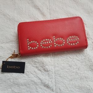 NWT Bebe RED Wallet Clutch Rhinestone Studded Faux